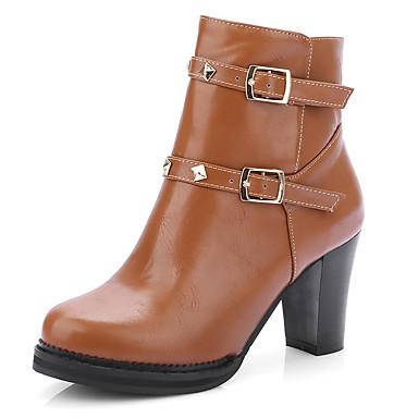 Damen Schuhe Kunstleder Frühling Herbst Winter Stiefeletten Modische Stiefel Stiefel Blockabsatz Booties / Stiefeletten Niete Schnalle Für