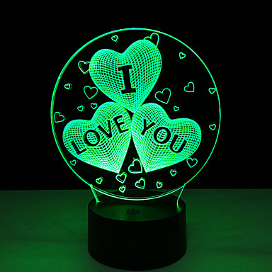 1 Pça. Luz noturna 3D Controlo Remoto Visão Nocturna Tamanho Pequeno Cores Variáveis Artistíco LED Moderno/Contemporâneo