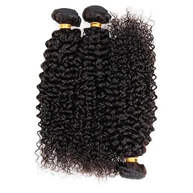 Brasiliansk hår Kinky Curly / Krøllete Weave Menneskehår Vevet 3 pakker Hårvever med menneskehår 8a Naturlig Farge / Kinky Krøllet
