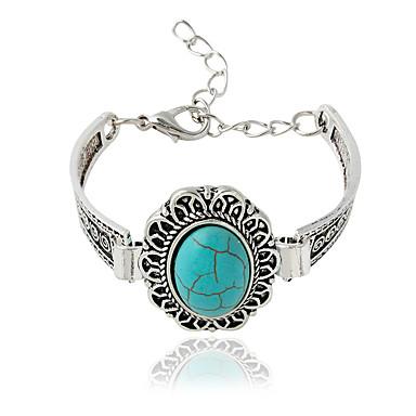 Dames Armbanden met ketting en sluiting Bohemia Style Legering Ovalen vorm Zilver Sieraden Voor 1 stuks