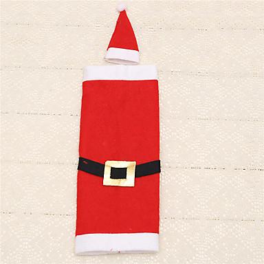 1pc Natal Papai Noel fivela roupas vestido chapéu garrafa de vinho bolsa de mesa cobertura de decoração