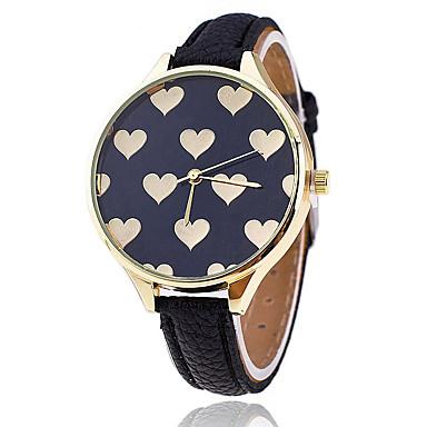 Dames Modieus horloge Vrijetijdshorloge Kwarts / Hot Sale Leer Band Heart Shape Informeel Zwart Wit