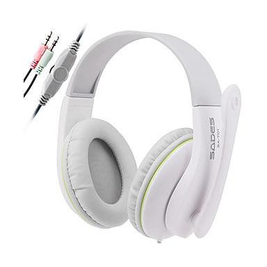 SADES SA701 Over øre Pannebånd Med ledning Hodetelefoner dynamisk Plast Gaming øretelefon Støyisolerende Med mikrofon Med volumkontroll