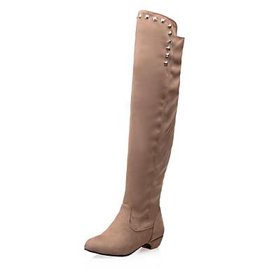 Bootsit-Matala korko-Naisten-Tekonahka-Musta Sininen Punainen Beesi-Puku-Ratsastussaappaat