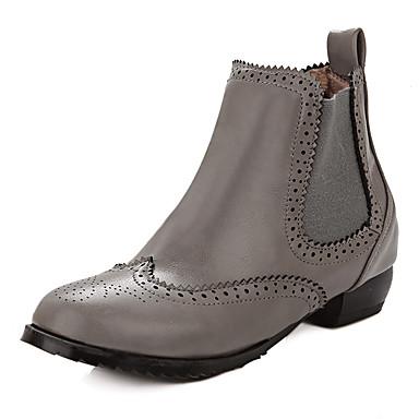 Feminino Sapatos Courino Primavera Outono Inverno Botas Salto Robusto Elástico Para Casual Preto Cinzento Vermelho