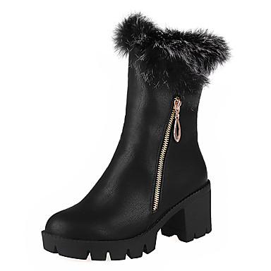 Bootsit-Leveä korko Block Heel-Naiset-Tekonahka--Puku-Saappaat