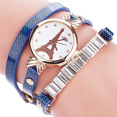 Damen Armband-Uhr Modeuhr Quartz Strass / Imitation Diamant PU Band Freizeit Eiffelturm Cool Schwarz Weiß Blau Rot Orange Braun Grün Gelb