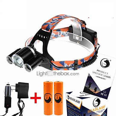 billige Lommelykter & campinglykter-U'King ZQ-X823 Hodelykter Frontlys til sykkel 4500 lm LED LED 3 emittere 4.0 lys tilstand med batterier og ladere Kompaktstørrelse Ekstra Kraftig Enkel å bære Camping / Vandring / Grotte Udforskning