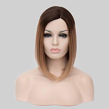 Synthetische Perücken Glatt Bubikopf Mit Pony Gefärbte Haarspitzen (Ombré Hair) Damen Kappenlos Schwarze Perücke Medium Synthetische Haare