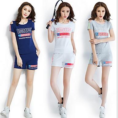 Mulheres Conjunto Camiseta e Calça de Corrida Manga Curta Respirável Conjuntos de Roupas para Exercício e Atividade Física Esportes