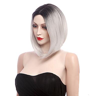 Недорогие Парик из искусственных волос без шапочки-Парики из искусственных волос Прямой Стиль Парик Белый Черный / Белый Искусственные волосы Жен. Волосы с окрашиванием омбре Белый Парик Короткие монолитным парики