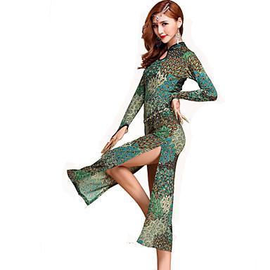 Dança do Ventre Vestidos Mulheres Actuação Elastano 1 Peça Manga Comprida Natural Vestido