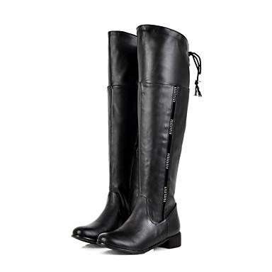 Bootsit-Matala korko-Naisten-Tekonahka-Musta Ruskea Valkoinen-Ulkoilu Toimisto Rento-Saappaat