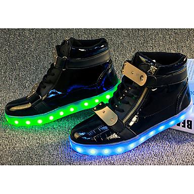 Mulheres Sapatos Couro Ecológico Primavera Outono Conforto Tênis com LED Tênis Corrida Sem Salto LED para Ao ar livre Branco Preto