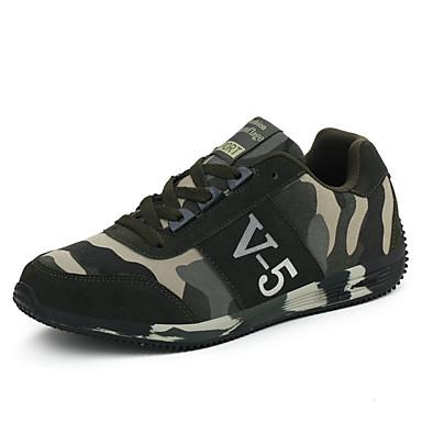 Sneakers-Læder Ruskind Tyl-Komfort-Herre-Grøn-Udendørs Fritid Sport-Flad hæl