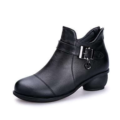 Mujer Zapatos de Baile Moderno / Botas de Baile Cuero Botas Hebilla Tacón Bajo No Personalizables Zapatos de baile Negro / Marrón / Rojo