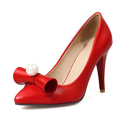 Damen Schuhe PU Frühling Sommer Herbst High Heels Walking Stöckelabsatz Mit Perle Für Normal Kleid Party & Festivität Weiß Schwarz Rot