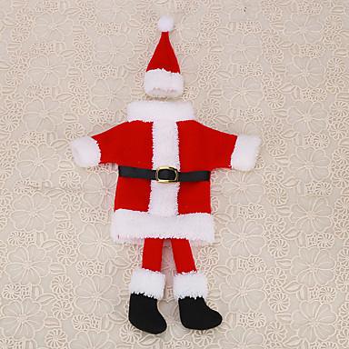 1pc julerød santa claus kulør fod tøj hat vinflaske taske party dække ferie borddekoration