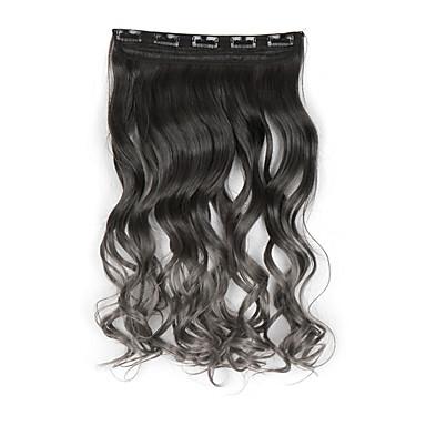 ヘアエクステンション120グラム60センチメートルの女性の長いヘアピース5clips工場価格、耐熱性合成firberで灰色のクリップ