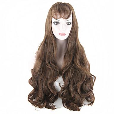 lang mode parykker mørkebrun gothic lolita varmebestandigt fiber bølget kvinder hår paryk