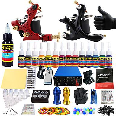 Starter Tattoo Kit 2 alloy machine liner & shader Tattoo Machine Mini power supply 14 x 5ml Tattoo Ink 2 x aluminum grip
