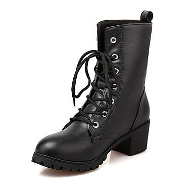 Naiset Kengät Tekonahka Kevät Syksy Talvi Maiharit Muotisaappaat Bootsit Kävely Paksu korko Block Heel Solmittavat Käyttötarkoitus
