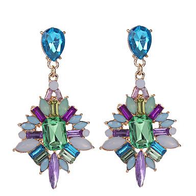 Mulheres Cristal Geométrica Brincos Compridos - Strass, Chapeado Dourado Caído Europeu, Fashion Arco-Íris Para Diário / Casual