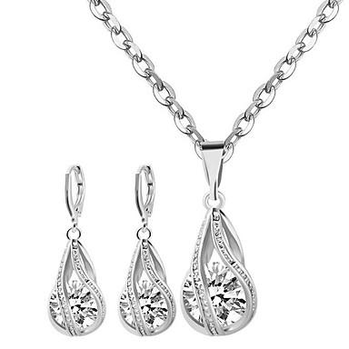 Damen Kubikzirkonia Schmuck-Set - Sterling Silber, Zirkon Modisch Einschließen Halskette / Ohrringe Weiß Für Party / Alltag / Normal / Halsketten