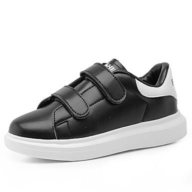 Drenge Pige Sneakers Komfort PU Forår Efterår Afslappet Komfort Magisk tape Flad hæl Sort Rosa Sort/Hvid Flad