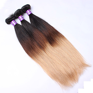 3 Bündel Eurasisches Haar Glatt / Klassisch Unbehandeltes Haar Ombre Menschliches Haar Webarten Haarverlängerungen / Gerade