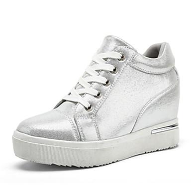 Damer Sneakers Komfort Kunstlæder Forår Efterår Afslappet Gang Komfort Snøring Flad hæl Sort Sølv Under 2,5 cm