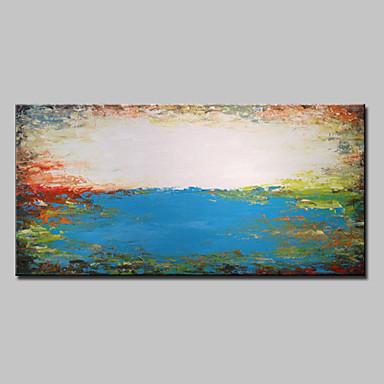 Hang-Painted Oliemaleri Hånd malede - Landskab Moderne Med Ramme / Stretched Canvas