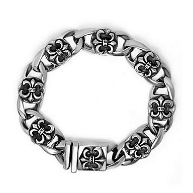 Heren Dames Armbanden met ketting en sluiting ID Armbanden Gepersonaliseerde Klassiek Punk Modieus Titanium Staal Kruisvorm Sieraden