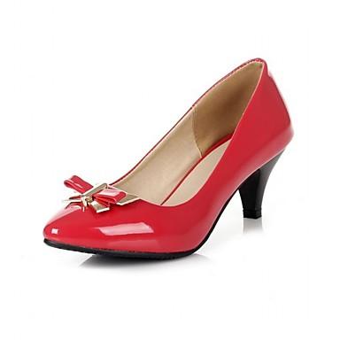 Naisten Kengät Synteettinen Kiiltonahka Tekonahka Kevät Kesä Korkokengät Kävely Paksu korko Ruseteilla varten Häät Kausaliteetti Juhlat