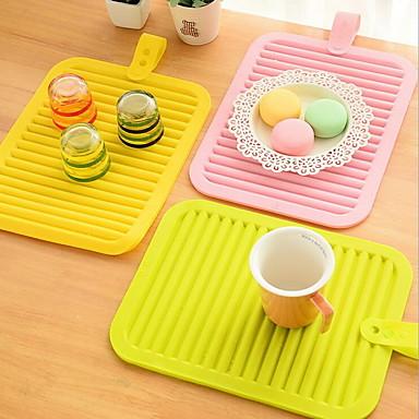Silicona Rectangular Juego de Mesa Un Color Resistente al Calor Decoraciones de mesa