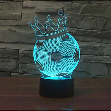 corona de fútbol touch atenuación 3d led luz de la noche 7colorful decoración atmósfera lámpara novedad iluminación de la luz