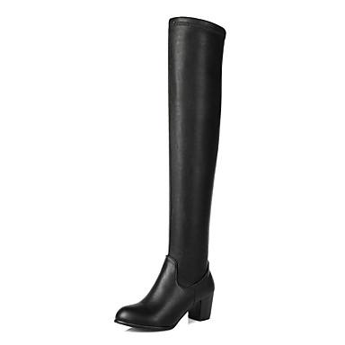Støvler-Kunstlæder-Hæle / Modestøvler-Dame-Sort-Udendørs / Kontor / Hverdag-Tyk hæl