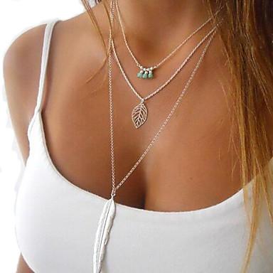 Damen Kristall Mehrschichtig Anhängerketten / Layered Ketten  -  Feder Quaste, Retro, Modisch Silber Modische Halsketten Für Party, Alltag, Normal