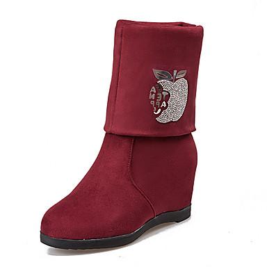 Damen-Stiefel-Outddor Lässig-Kunstleder-Niedriger Absatz-Modische Stiefel-Schwarz Rot