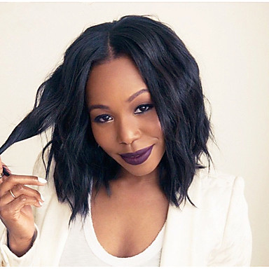 Echthaar Spitzenfront Perücke Natürlich gewellt 130% Dichte 100 % von Hand geknüpft / Afro-amerikanische Perücke / Natürlicher Haaransatz