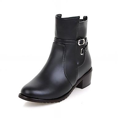 Dame-Syntetisk Lakklær Kunstlær-Lav hæl-Motorsykkelstøvler Combatstøvler Cowboystøvler Ankelstøvler Ridestøvler Motestøvler-Høye hæler-