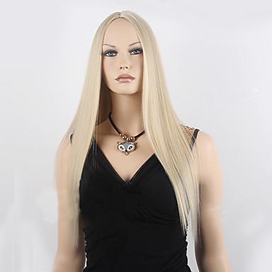 Syntetiske parykker Lige Blond Syntetisk hår Blond Paryk Dame Lang Lågløs Blond