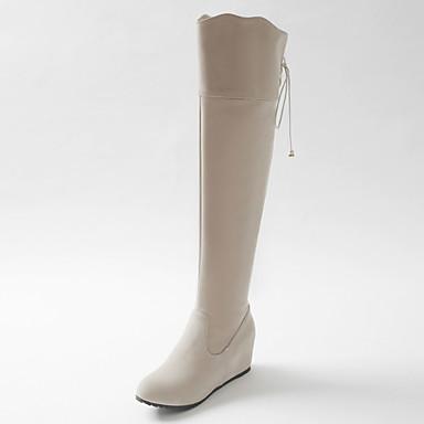 Støvler-Kunstlæder-Modestøvler-Dame-Sort Rosa Beige-Udendørs Kontor Fritid-Kilehæl