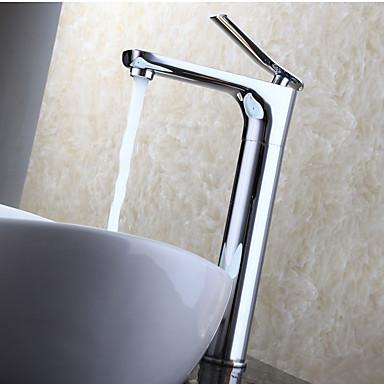 Moderne Vandret Montering Roterbare with  Keramik Ventil Enkelt håndtag Et Hul for  Krom , Håndvasken vandhane