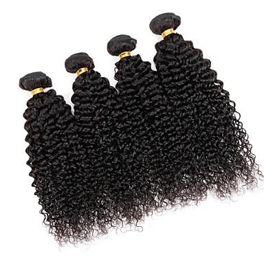Braziliaans haar Kinky Curly / Curly Weave Menselijk haar weeft 3 bundels Menselijk haar weeft 8a Natuurlijke Kleur / Kinky krullen