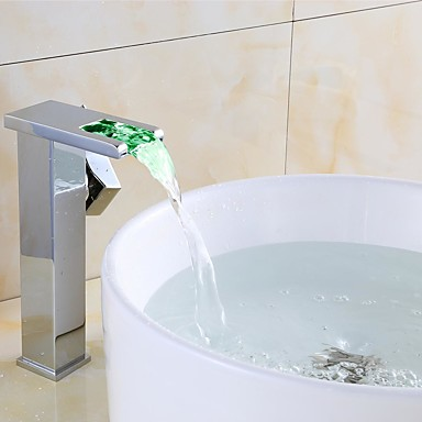 Håndvasken vandhane - LED Krom Centersat Enkelt håndtag Et Hul