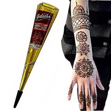 halloween cor preta à base de plantas cones henna temporária corpo tatuagem kit henna arte da tinta mehandi 1 unidade
