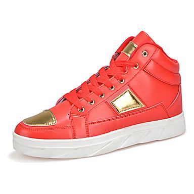 Sneakers-Mikrofiber-Komfort-Herre-Sort Rød Hvid Sort og Hvid-Udendørs Fritid Sport-Flad hæl