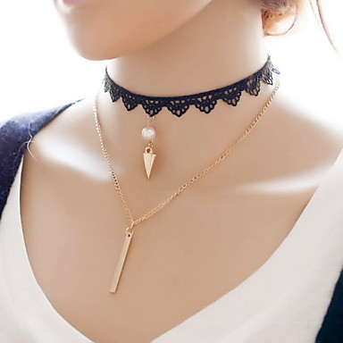 Dame Choker Halskjede lagdelte Hals Geometrisk Form Perle Blonde Legering Mote Multi Layer Smykker Til Daglig Avslappet