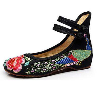 Mulheres Sapatos Lona Primavera Verão Sapatos bordados MaryJane Conforto Rasos Caminhada Sem Salto Presilha Flor para Casual Preto